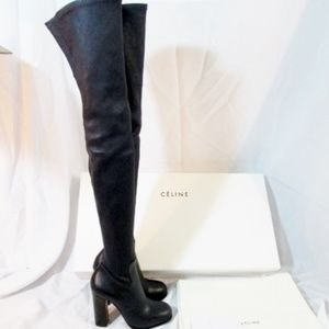 NEW CELINE PARIS Leather Thigh High Boot